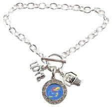 Kansas Jayhawks Multi Charm Love Basketball Blue Silver Bracelet Jewelry KU