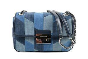 Michael Kors Sloan Multi Blue Patchwork Large Chain Shoulder Bag