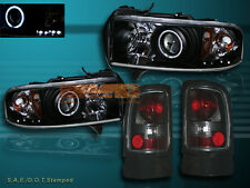 94-01 DODGE RAM CCFL HALO PROJECTOR HEADLIGHTS LED & SMOKE TAIL LIGHTS COMBO