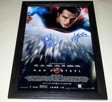 "MAN OF STEEL CAST X3 PP SIGNED & FRAMED 12""X8"" POSTER HENRY CAVILL SUPERMAN"