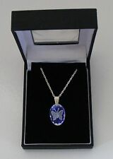 glace bleu petit ovale papillon cristal pendentif