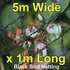 Commercial Knitted Anti Bird Netting 5 Metre Wide x  1 Metre Long - Black