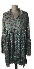 THE KOOPLES SHORT DRESS / LONG SLEEVES IN POLKA DOT DEVORE VELVET GREEN Size XS
