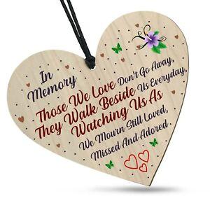 Bereavement In Memory Wooden Heart Plaque Memorial Remembrance Loss