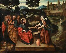 18th CENTURY HUGE ITALIAN OLD MASTER OIL CANVAS - CHRIST & THE SAMARITAN WOMAN