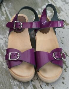 HANNA ANDERSSON Girls Purple Patent Leather Swedish Sandals Clogs Shoes 35 2.5