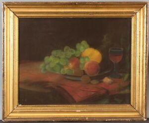 19thC Antique Lemon Gold Gilt Frame Primitive Folk Art Pastel Still Life Drawing