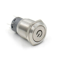 19mm Blau LED Klingelknopf Edelstahl Druckschalter 220V,Metalltaster