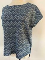 Mossman Women's Blue Silver Chevron Tunic Top 8 A14 ~ Free AU Shipping!