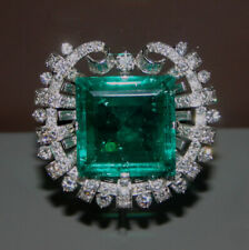 Diamond & Colombian Green Emerald Vintage Brooch Pin 18k White Gold Over