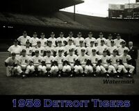 MLB 1958 Detroit Tigers Team Picture Black & White 8 X 10 Photo Picture