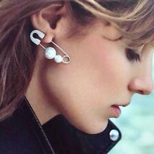 Women Unique Pin Jewelry Safety Punk Earring Brooch Ear Stud Pearls