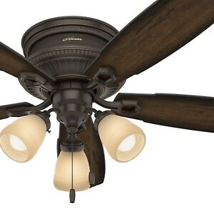 """Hunter 52"""" Traditional Low Profile Ceiling Fan with LED Light Kit in Onyx Bengal"""
