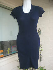 M / 12 DEREK HEART blue dress sexy figure hugging stretchy knit above-knee mini