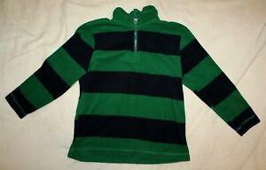 Faded Glory Boys Size 7 Green/Black Striped 1/4 Zip Fleece Sweatshirt