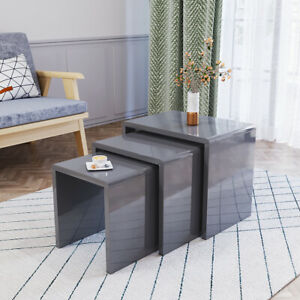 Nest of Tables Set of 3 Nesting Tables High Gloss Coffee Table MDF Wood End Side