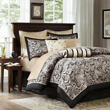 BLACK SILVER 12pc Queen COMFORTER SET -LUXURY MODERN GOLD PAISLEY AUBREY BEDDING