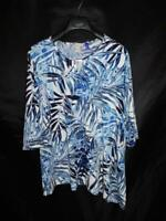 Catherines 2XWP 2X Petite NWT Blue White Shirt 3/4 Sleeve Stretch Knit Floral P