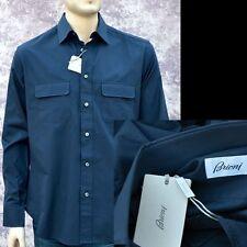 BRIONI New sz XL Authentic Designer Mens Luxury Pure Cotton Shirt navy blue
