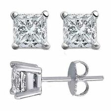 3.50CT White Sapphire Princess Cut Solid 18K White Gold Push Back Stud Earrings