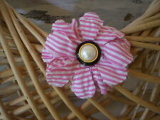 Pink Fabric flower pin and rubber band/Hademade flower brooch & ponytail holder