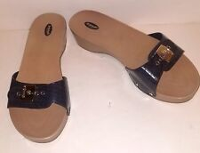 Dr. Scholls Classic Tan and Navy Adjustable velcro straps women's sandals 8 M
