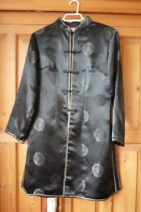Chinese Kung Fu Black Luck Blessing UK 14 Jacket Coat Top Costume Cosplay