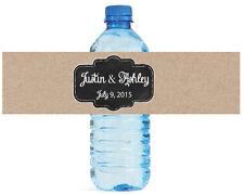 Kraft Paper Chalkboard Wedding Anniversary Engagement Party Water Bottle Labels