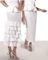 Ashro White Ruffle Formal Belissima Ruffled Skirt Wedding Church Feminine 8 10