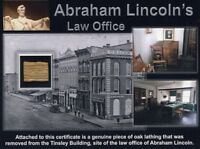 Authentic Piece of Abraham Lincoln's Law Office Site On Gorgeous Certificate COA