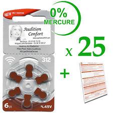 25 plaquettes de 6 piles auditives RAYOVAC N° 312  (PR41) 0% mercure