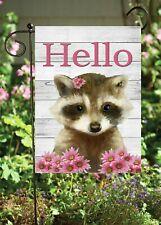 Hello Raccoon  Double Sided Soft Flag     **GARDEN SIZE**   FG1320