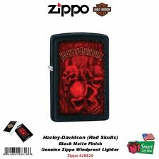 Zippo Harley-Davidson Lighter, H-D Red Skulls, Black Matte, Windproof #28826