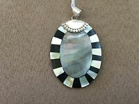 "Mother of Pearl Sterling Silver 925 marked ID LS pendant size 2 1/2"" x 2"""