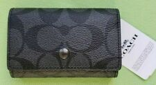 COACH SIGNATURE FIVE RING KEY CASE:NWT SIGNATURE BLACK