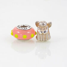 Pandora Lampwork Bead and Sterling Silver Charm, Lot of Two, Pink