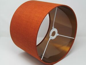 Burnt Orange Textured Woven Brushed Copper Lined  Drum Lampshade Light Shade