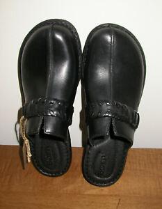 NIB BORN Talquin Leather Clogs in Black F58103 Womens Sz 8 M