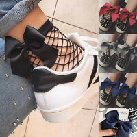 Womens Black Bow Ruffle Fishnet Ankle High Sock Girl Mesh Fish Net Short Socks