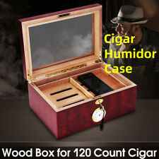 More details for 120 cigars humidor case wood humidifier box cedar lined storage case trave