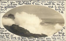 Gloucester MA Waves on Rocks Bldg in Background Real Photo Postcard c1905
