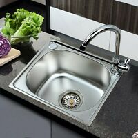 Single Bowl Stainless Steel Kitchen Sink 42x37cm Laundry Sink Square + Drainer