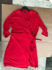 Ann Taylor Womens Wrap Dress 3/4 Sleeve Front Fit Flare Stretchy Red Size 18