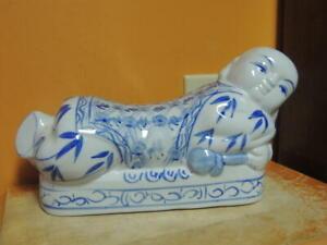 Chinese Porcelain Pillow Figurine Opium Headrest Blue White Post 1940 Vintage 2