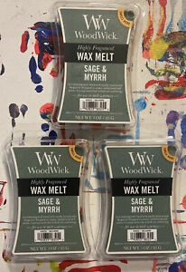 NEW WOODWICK HIGHLY SCENTED SAGE AND MYRRH WAX MELTS 3 OZ. - LOT OF 3 PACKAGES