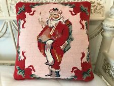"Tapestry Needlepoint Casual Santa Christmas Throw Pillow Pink Red Green 13""x13"""