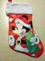 """Disney Mickey Mouse Christmas Stocking 16"""" with Plush Cuff NEW"""