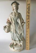 "Vintage CORDEY XLarge 16"" Lady Lace Figurine w/Flower Basket Porcelain 1940s USA"