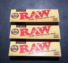 3 Packs Raw Classic 1 1/4 Rolling Papers 50 Lvs USA FREE SHIPPING! Natural!