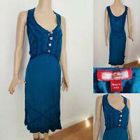 JOE BROWNS Women Dress Plus Size UK 32 Blue Sleeveless Front Buttons & Tie Back